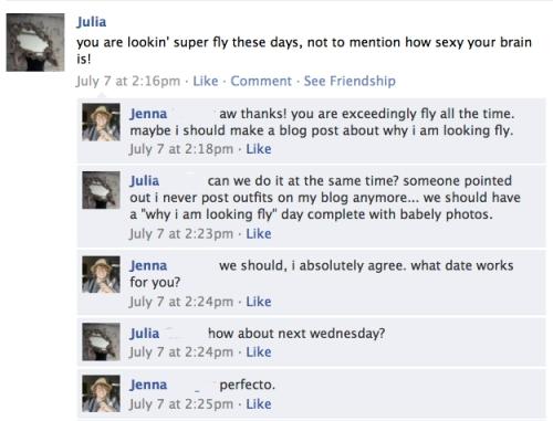 a screencap of a facebook conversation between j. bee and julia