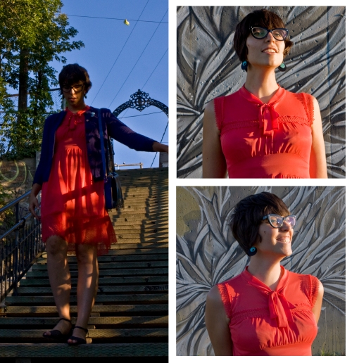 photos of julia walking down a staircase, and smiling in the sun
