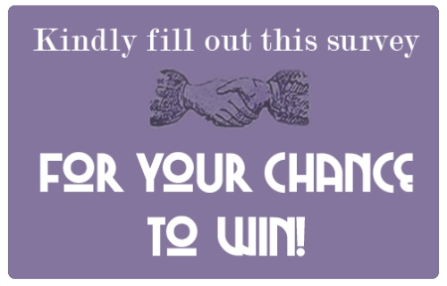 a purple box that reads - kindly fill out this survey for your chance to win!