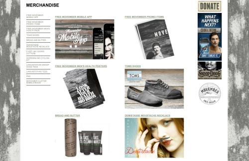 "screencap of the movember website that reads ""merchandise"""