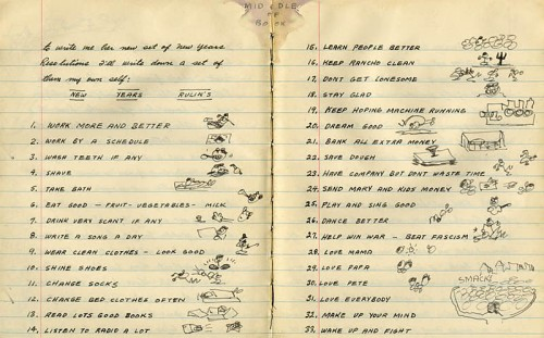 "Woody Guthrie's 1943 ""New Years Rulin's."" Found in one of his journals dated January 31st, 1942."