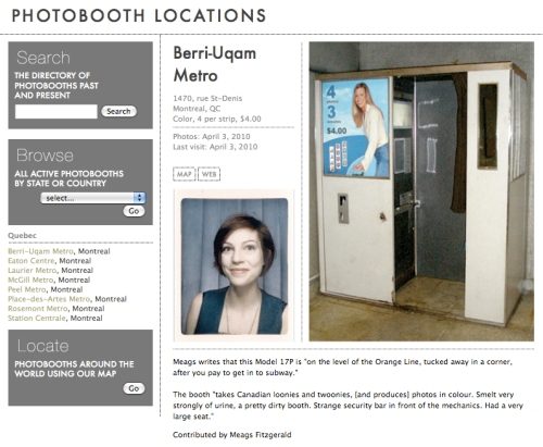 a screencap from the photoboot.net website's locator feature