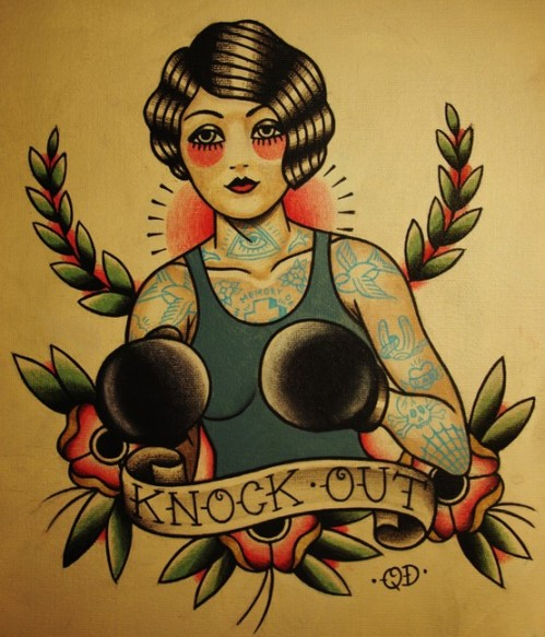 Knock Out (flapper boxer tattoo design) by Quyen Dinh