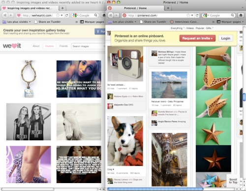 screencap of the weheartit front page and pinterest front page on may 5th, 2012