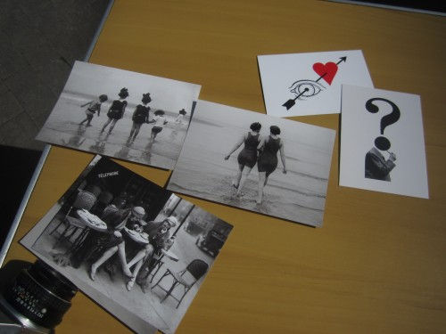 a photograph of some postcards