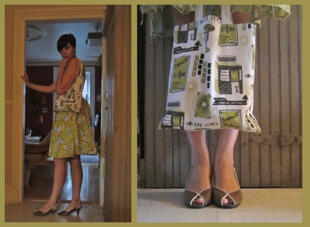 dress: vintage, thrifted shoes: thrifted ages ago photobooth bag from meags fitzgerald