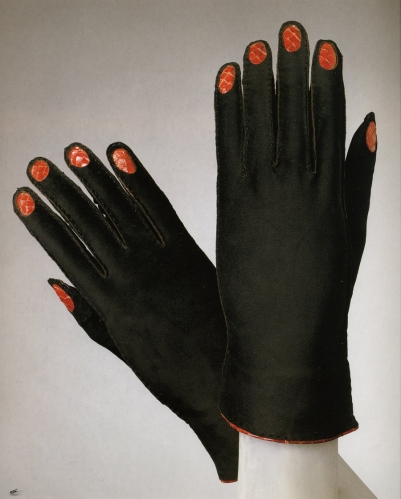 Made in Paris, France, Europe. Winter 1936-37 Designed by Elsa Schiaparelli, French (born Italy), 1890 - 1973  Black suede, red snakeskin 9 3/8 x 3 3/8 inches (23.8 x 8.6 cm)