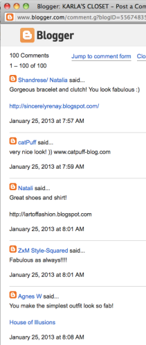 Screencap of comments left on a popular personal style blog. Short repetitive comments are standard, with links to their own blogs becoming the focal point.