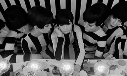 "Film still from William Klein's 1966 satirical art film, ""Qui êtes vous, Polly Maggoo?"""